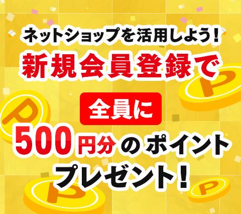 会員様専用オンラインショップに登録で500ポイントプレゼント