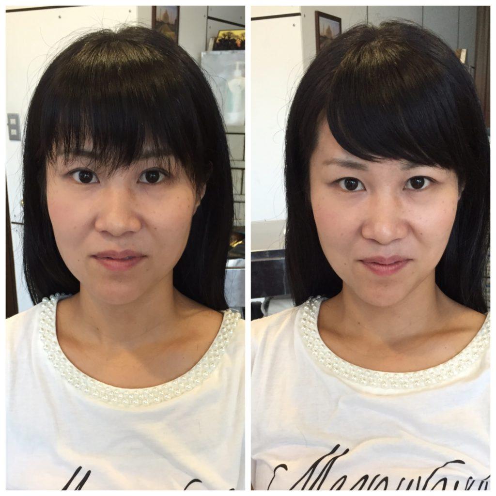 前髪の流し方